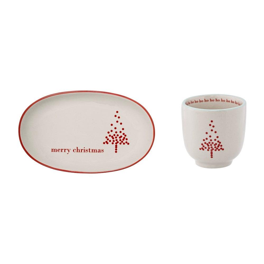 Set hrnčeka a tanierika z kameniny Bloomingville Lucia