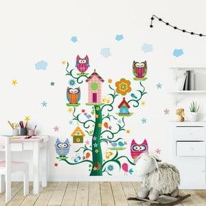 Sada detských samolepiek na stenu Ambiance Owls and their Magic Tree