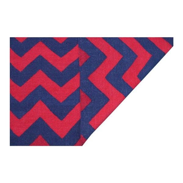 Vlnený koberec Kilim 06 Navy/Red, 160x240 cm
