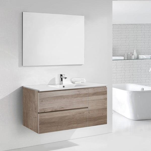Kúpeľňová skrinka s umývadlom a zrkadlom Happy, dekor dubu, 120 cm