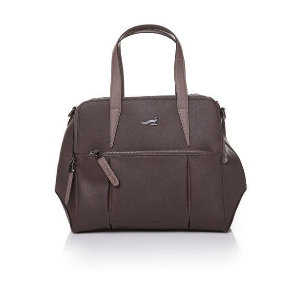 Kožená kabelka s dlouhým aj krátkym popruhom Marta Ponti Strada, sivá/hnedá