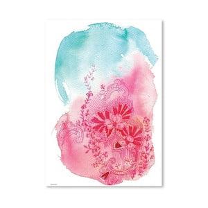 Plagát Flowers Pink, 30x42 cm