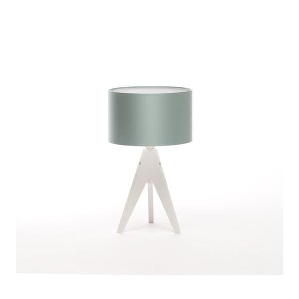 Oceľovomodrá stolová lampa 4room Artist, biela lakovaná breza, Ø 25 cm