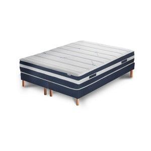Tmavomodrá posteľ s matracom a dvojitým boxspringom Stella Cadente Maison Venus Europe, 160 x 200 cm