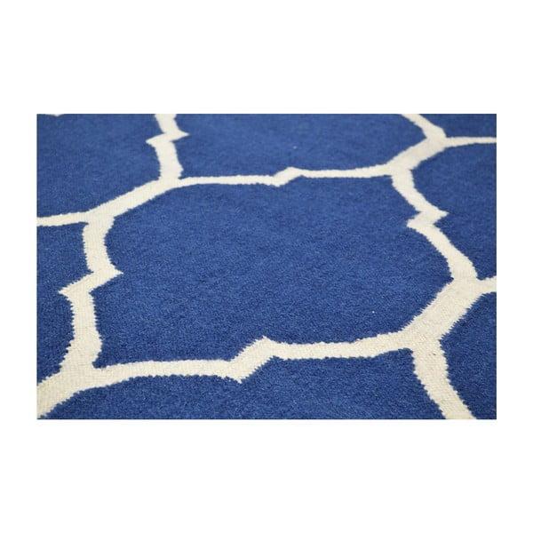 Ručne tkaný modrý koberec Lara, 140 x 200 cm