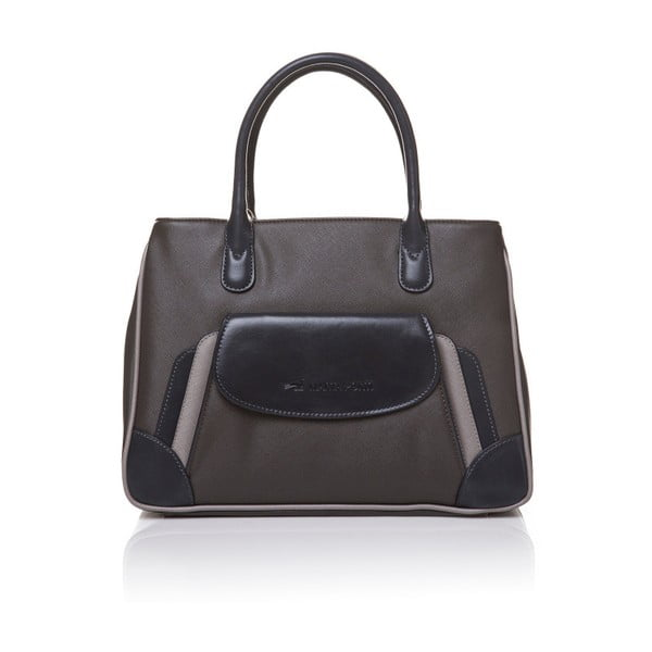 Kožená kabelka do ruky Marta Ponti Pocket, sivá/béžová