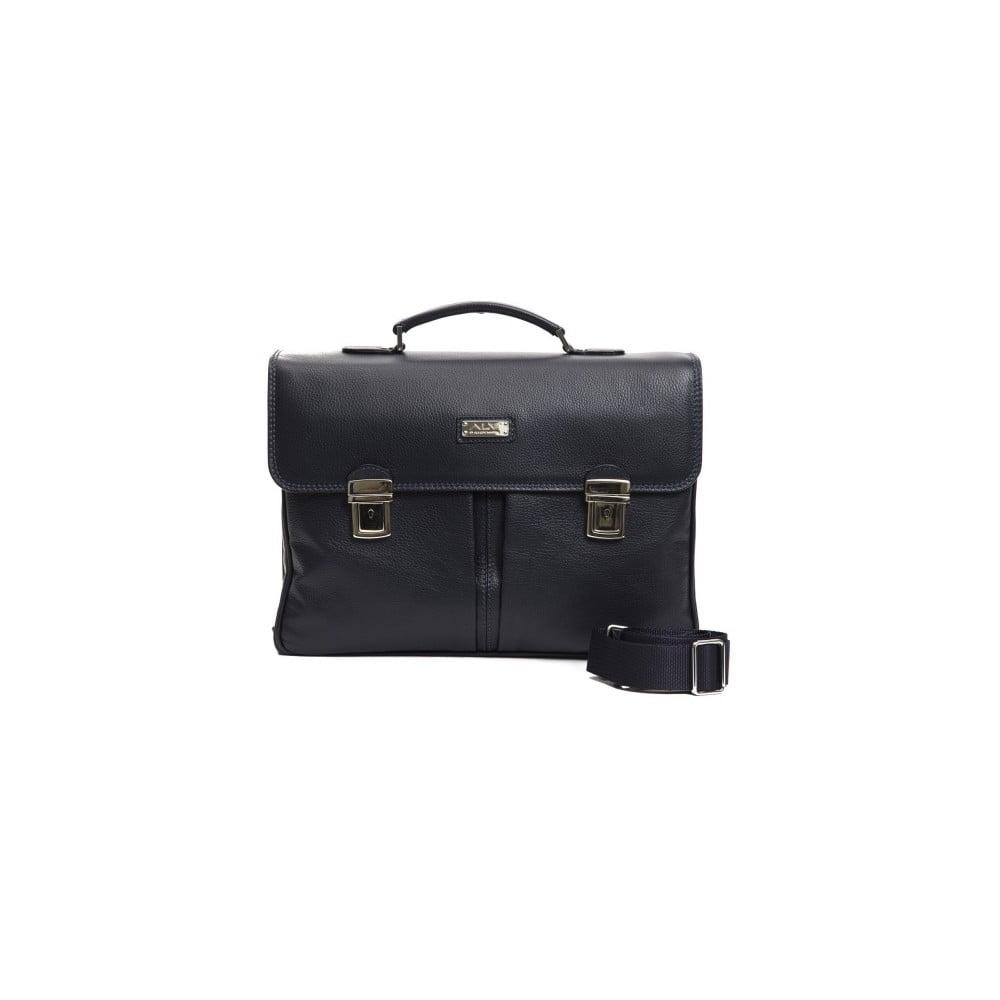 Tmavomodrá pánska kožená taška Alviero Martini Turo