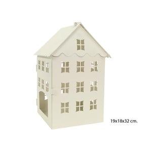 Krémová kovová dekorácia Unimasa House, výška 32 cm