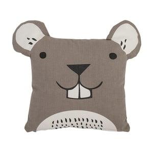 Hnedý detský vankúš Bloomingville Ratta, 40 × 40 cm