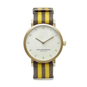 Unisex hodinky s hnedo-žltým remienkom South Lane Stockholm Sodermalm Gold Stripes