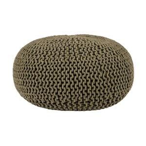 Kaki zelený pletený puf LABEL51 Knitted, ⌀70 cm