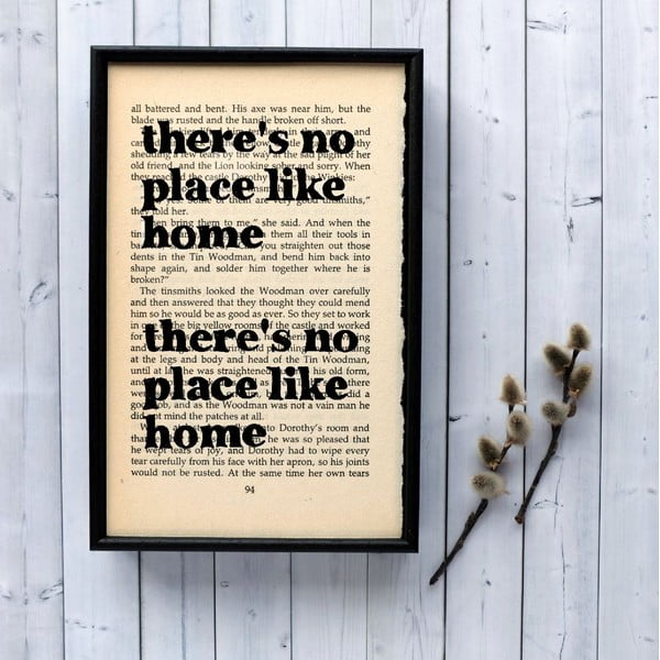 Plagát v drevenom ráme Wizard of Oz No Place Like Home