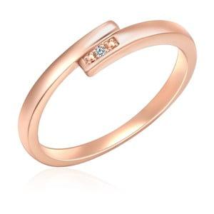 Strieborný prsteň vo farbe ružového zlata s pravým diamantom Tess Diamonds Fifi, veľ. 56