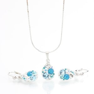 Set Laura Bruni so Swarovski Elements Droplets Aqua