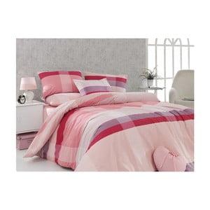 Ružové bavlnené obliečky s plachtou Ekose, 200 x 220 cm