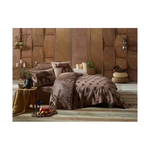 Hnedý set obliečok na jednolôžko a ľahkej prikrývky cez posteľ Fil
