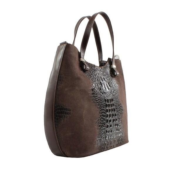 Tmavohnedá kožená kabelka Citta