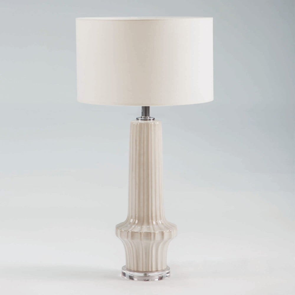 Biela keramická stolová lampa bez tienidla Thai Natura, výška 58 cm