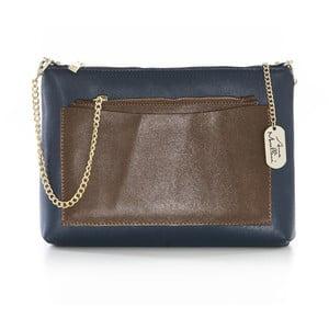 Modro-hnedá kožená kabelka Anna Morellini Serena