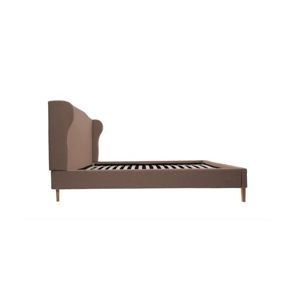 Svetlohnedá posteľ VIVONITA Windsor 140x200cm, prírodné nohy