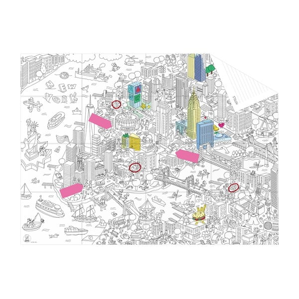 Vrecková omaľovánka mapa New York