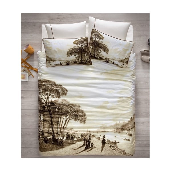 Obliečky z bavlneného saténu s plachtou Uskudar, 200 x 220 cm