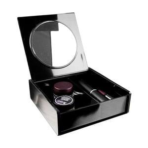 Čierny organizér na kozmetiku so zrkadielkom Compactor