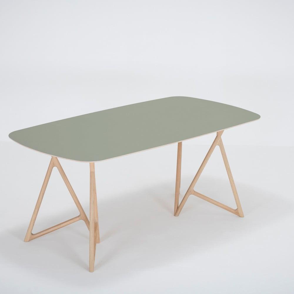 Jedálenský stôl z masívneho dubového dreva so zelenou doskou Gazzda Koza, 180 × 90 cm