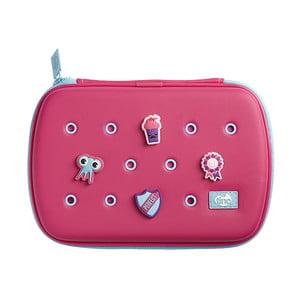 Ružový peračník so 4 ozdobnými odznačikmi TINC Buds