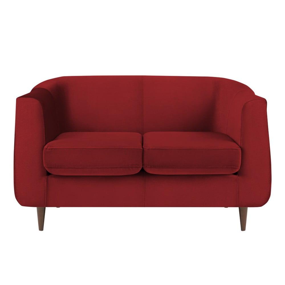 Červená zamatová pohovka Kooko Home Glam, 125 cm