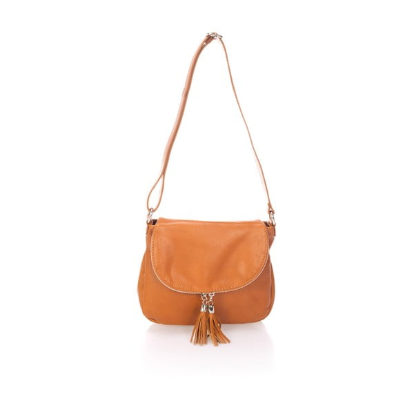 Svetlohnedá kožená kabelka s třásněmi Giulia Massari Sauvage