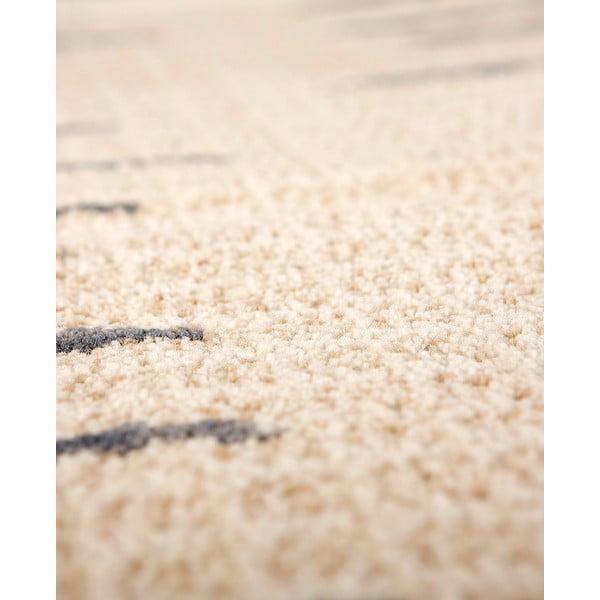 Vlnený koberec Tattoo no. 108, 60x120 cm, sivý