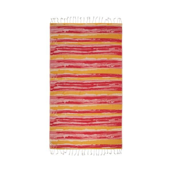 Oranžovo-vínová hammam osuška Begonville Brush, 95x180cm