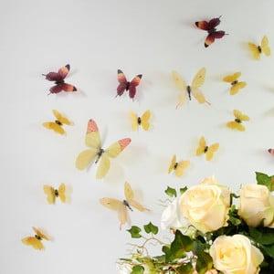 Trojrozmerné samolepky - motýlikovia, farba žltá
