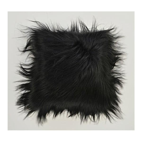Kožušinový vankúš s dlhým vlasom Blacky, 35x35cm