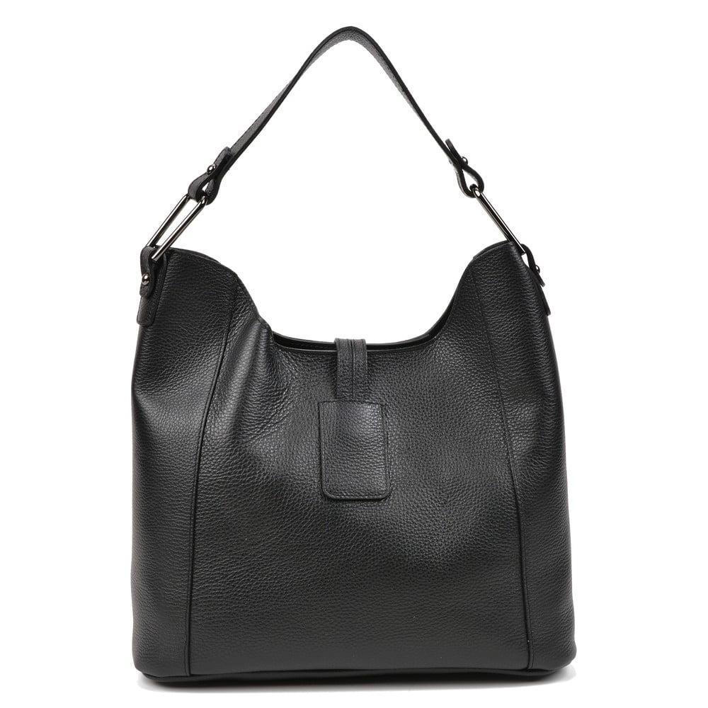 Čierna kožená dámska kabelka Carla Ferreri