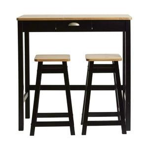 Čierny barový stolík s 2 stoličkami z masívneho borovicového dreva Marckeric Caya
