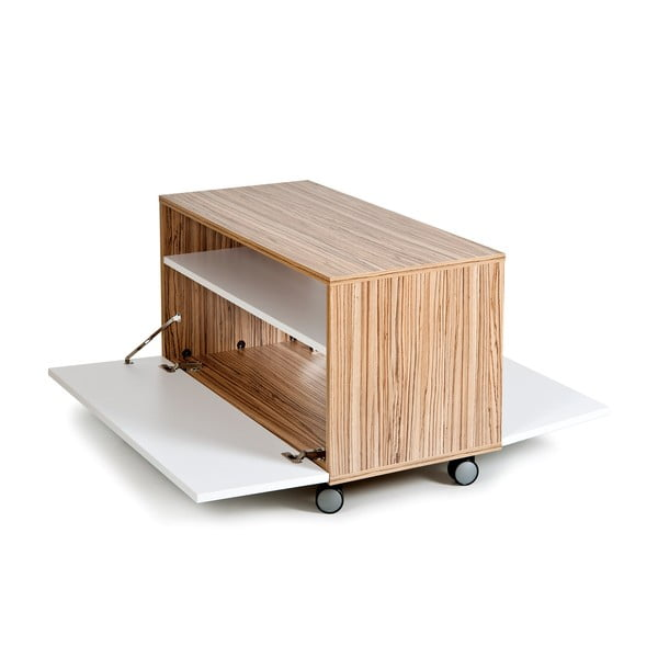 Konferenčný stôl s úložným priestorom Decoflex, biely/samba