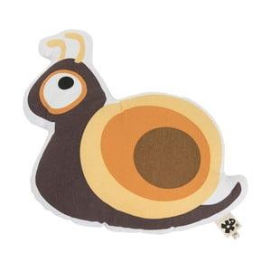 Detský hnedý vankúš s potlačou Sebra Snail