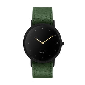Čierne unisex hodinky so zeleným remienkom South Lane Stockholm Avant Pure