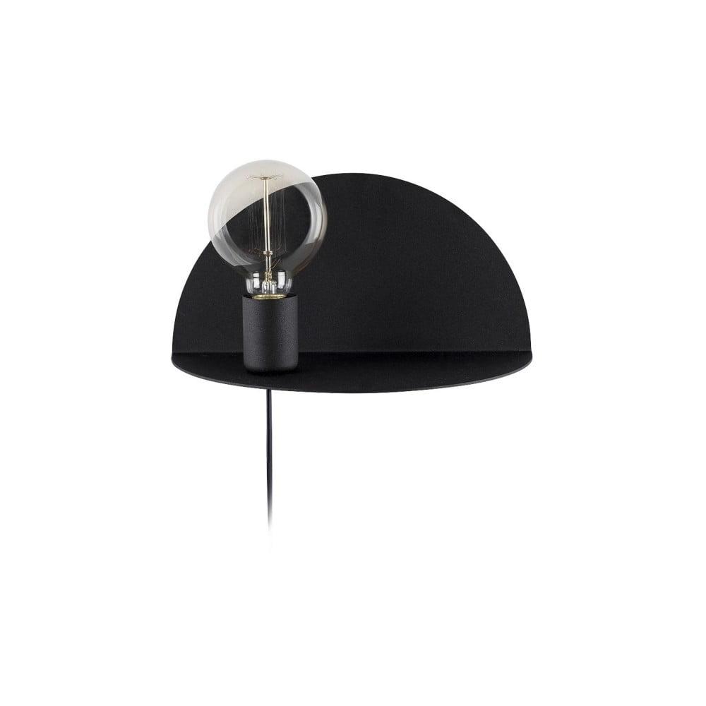Čierna nástenná lampa s poličkou Shelfie, výška 15 cm