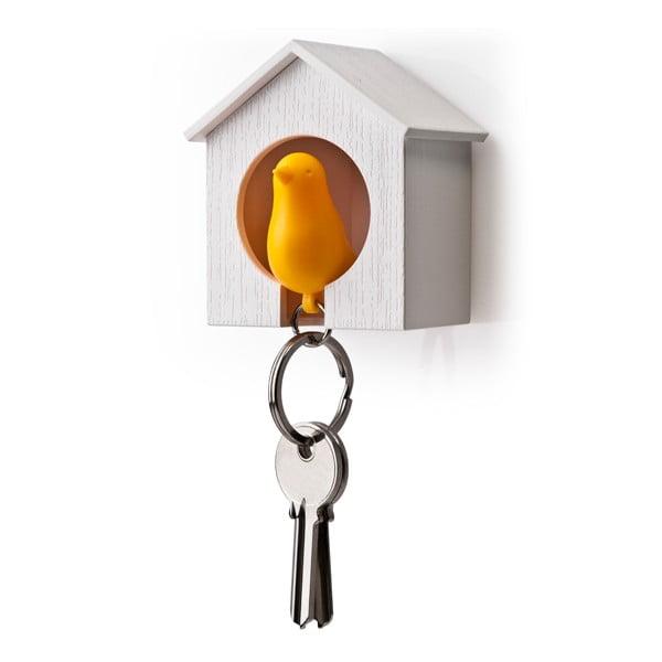 Búdka s kľúčenkou QUALY Sparrow, biela búdka/oranžový vtáčik