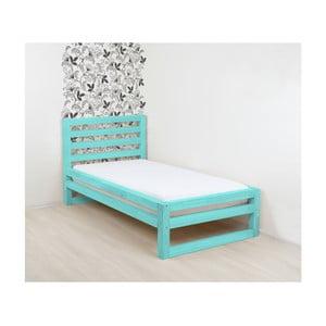 Tyrkysovomodrá drevená jednolôžková posteľ Benlemi DeLuxe, 190 × 80 cm