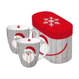 Sada 2 porcelánových hrnčekov s vianočným motívom v darčekovom balení PPD Santa On Wood, 350 ml