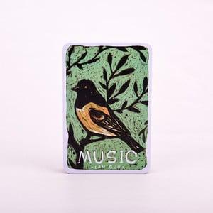 Plechový zápisník Music, modrý vtáčik