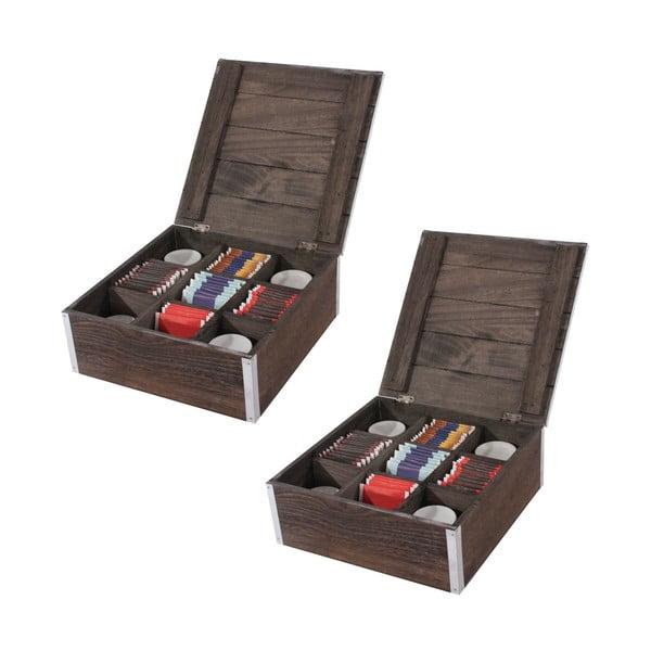 Sada 2 hnedých krabičiek na čaj Mendler Shabby