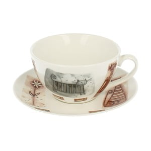 Porcelánový hrnček s tanierikom s motívom mačky Duo Gift, 300 ml