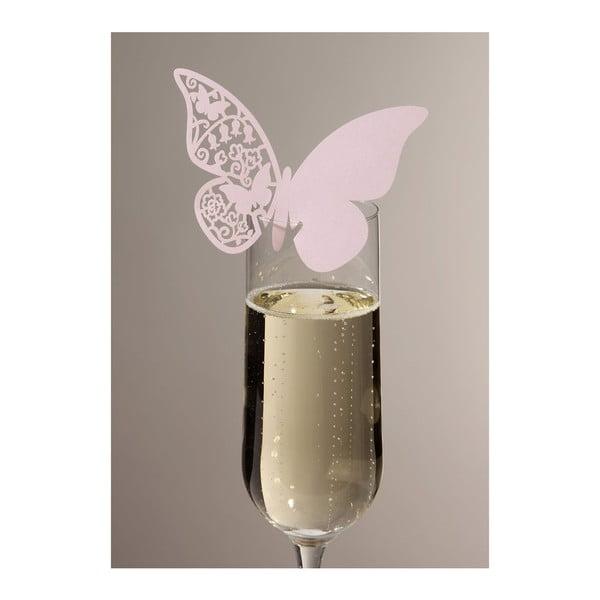 Sada 10 menoviek/rozlišovačov na skleničky Butterflies, ružová