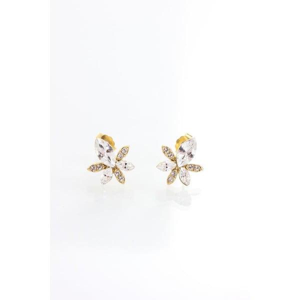 Náušnice s krištáľmi Swarovski® Yasmine Golden Leaf