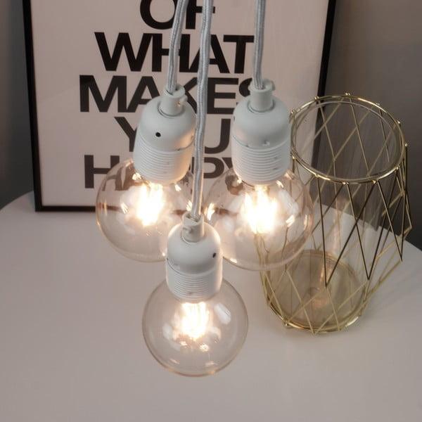 Biele závesné svietidlo s 3 káblami Bulb Attack Uno Group